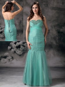 Unique Turquoise Mermaid Evening Dress Sweetheart  Organza Beading Floor-length