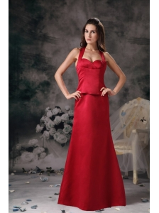Wine Red Column Elegant Bridesmaid Dress Halter Satin