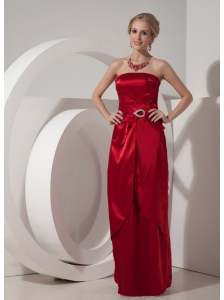 Wine Red Elegant Bridesmaid Dress Column Strapless Satin Beading