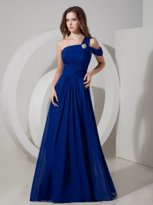 Wonderful Peacock Blue Evening Dress Empire One Shoulder Chiffon Ruch Floor-length