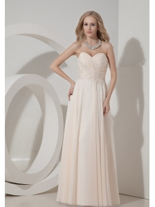 2013 Champagne Column Sweetheart  Prom Dress Chiffon Appliques