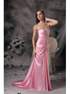 2013 Rose Pink Empire Prom / Evening Dress  Sweetheart Brush Train