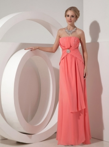 2013 Watermelon Red Strapless Chiffon Prom Dress with Beading