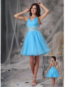 Aqua Blue A-line V-neck Short Prom /   Cocktail Dress Organza Beading Mini-length