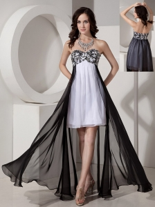 Cheap Black and White Chiffon Prom Dress with Appliques and Beading