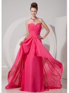 Cheap Coral Red Empire Sweetheart Prom Dress Chiffon Brush Train