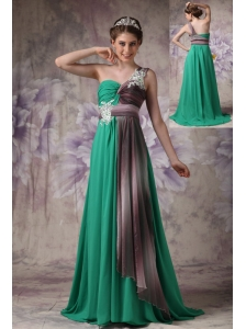 Cheap Green Empire One Shoulder Evening Dress Chiffon Appliques Brush Train