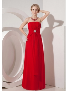 Cheap Wine Red Strapless Column Prom Dress