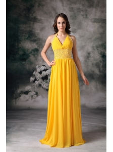 Classical Yellow Empire Halter Evening Dress  Chiffon Beading Brush Train