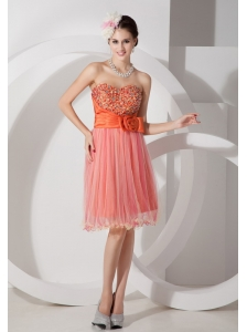 Custom Made Orange A-line Sweetheart Short Prom Dress Organza Ruch and Beading Knee-length