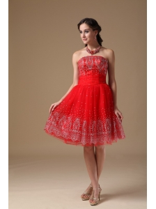 Custom Made Red A-line Short Prom Dress   Strapless Taffeta and Organza Embroidery   Knee-length