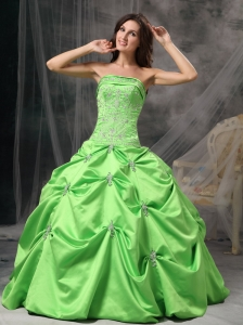 Custom Made Spring Green Ball Gown Strapless Quinceanera Dress Taffeta Beading Floor-length