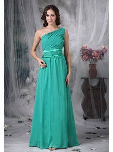 Custom Made Turquoise Column Evening Dress One Shoulder Chiffon Beading Floor-length