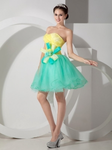 Customize Apple Green and Yellow Cocktail Dress A-line Sweetheart Organza Hand Made Flowers Mini-length