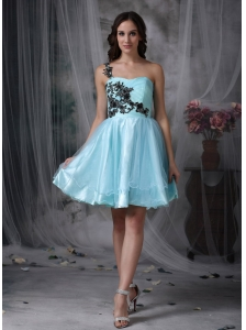 Customize Aqua Blue A-line One Shoulder Short Prom Dress with Black Appliques