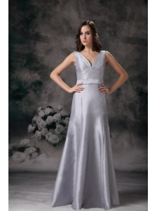 Customize Grey Column / Sheath V-neck Prom Dress
