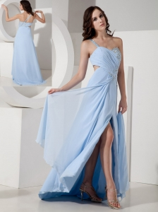 Customize Light Blue Empire One Shoulder Evening Dress Chiffon Beading Floor-length