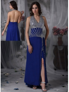 Customize Peacock Blue Column Halter Evening Dress Chiffon Beading  Floor-length
