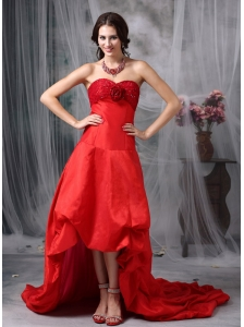 Customize Red A-line Cocktail Dress Sweetheart High-low Taffeta Hand Made Flowers