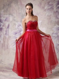 Customize Red Sweetheart Prom / Evening Dress with Fuchsia Slash