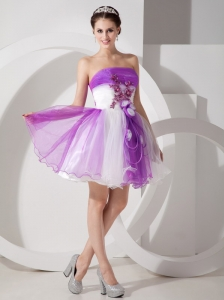 Cute Purple and White Cocktail Dress A-line Strapless Organza Hand Made Flowers Mini-length
