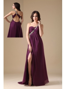 Elegant Dark Purple Empire One Shoulder Prom Dress Chiffon Beading
