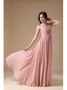 Elegant Peach Pink V-neck Prom Dress Chiffon Ruch