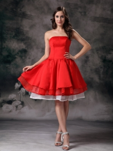 Elegant White and Red A-line Strapless Short Prom Dress Mini-length