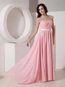 Exclusive Baby Pink Empire Sweetheart Evening Dress Chiffon Beading Brush / Sweep