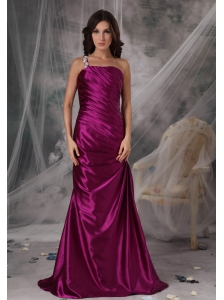 Exclusive Fuchsia Column One Shoulder Evening Dress Taffeta Appliques Floor-length