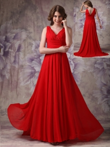 Exclusive Red Empire V-neck Evening Dress Chiffon Ruch and Beading Brush Train