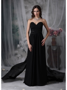 Exquisite Black Empire Sweetheart Evening Dress Chiffon Beading Watteau Train