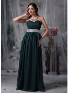 Exquisite Dark Green Prom / Evening Dress Empire Sweetheart Chiffon Belt Brush Train