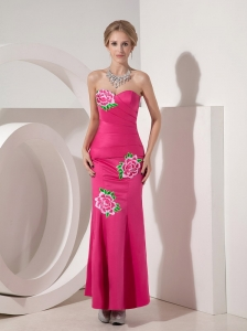 Exquisite Hot Pink Mermaid Sweetheart Cocktail Dress Taffeta Appliques Ankle-length