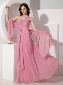Exquisite Peach Pink Prom Dress One Shoulder