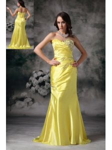 Exquisite Yellow Column Sweetheart Evening Dress  Taffeta Beading  Brush Train