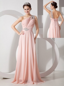 Gorgeous Baby Pink Empire One Shoulder Prom Dress Chiffon Ruch and Beading Brush Train