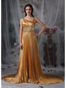 Gorgeous Gold Empire Asymmetrical Evening Dress Elastic Woven Satin Beading Brush Train