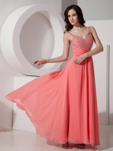 Latest Watermelon Empire Straps Evening Dress  Chiffon Beading Ankle-length