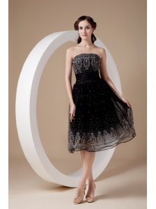 Low price Black A-line Prom Dress Strapless Organza Embroidery Tea-length