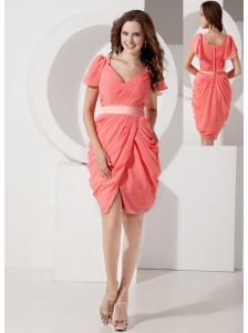 Low Price Watermelon Column V-neck Prom Dress Chiffon Belt Knee-length