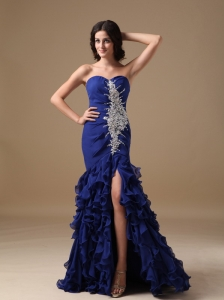 Luxurious Peacock Blue Mermaid Sweetheart Evening Dress Chiffon Beading Brush Train