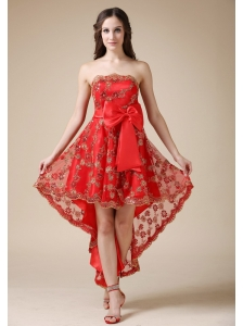 Luxurious Red A-line Cocktail Dress Strapless High-low Elastic Wove Satin and Lace Bow
