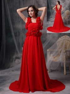 Modern Red A-line Square Evening Dress Chiffon Beading and Hand Made Flowers Court Train