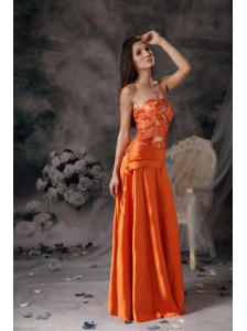 Modest Orange Red Prom Dress Strapless Taffeta Beading