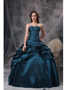 Modest Teal Ball Gown Sweetheart Quinceanea Dress Taffeta Appliques Floor-length