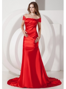 Modest Wine Red Off The Shoulder Evening Dress Elastic Wove Satin Ruch Court Train