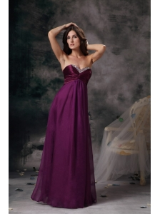 New Dark Purple Prom Dress Empire Sweetheart Chiffon Beading Floor-length