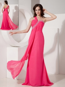 Popular Hot Pink Column Evening Dress One Shoulder  Chiffon Beading Floor-length