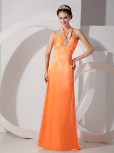 Popular Orange Red Column Halter Evening Dress Satin Beading and Ruch Floor-length